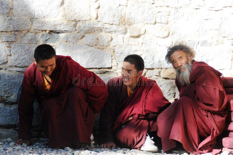Tibetan monks stock photos