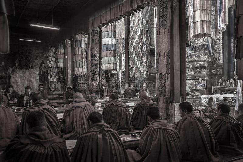 Tibetan Monks - Ganden Monastery - Tibet stock photo