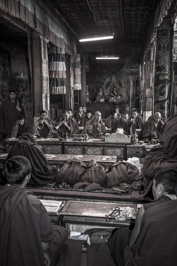 Tibetan Monks - Ganden Monastery - Tibet stock images