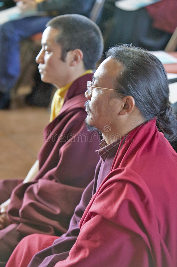 Tibetan Monks seated for Amitabha Empowerment Buddhist Ceremony at Meditation Mount in Ojai, CA royalty free stock images