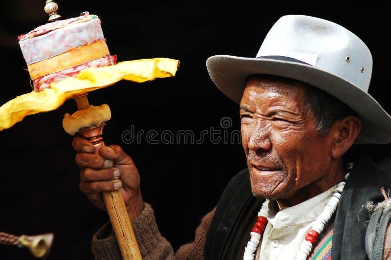 Tibetan pelgrim royalty-vrije stock fotografie