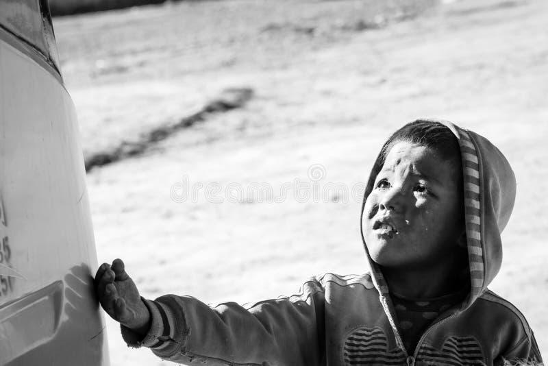 Tibetan people. Tibetan children on October 22, 2013 in Lhasa, Tibet stock images