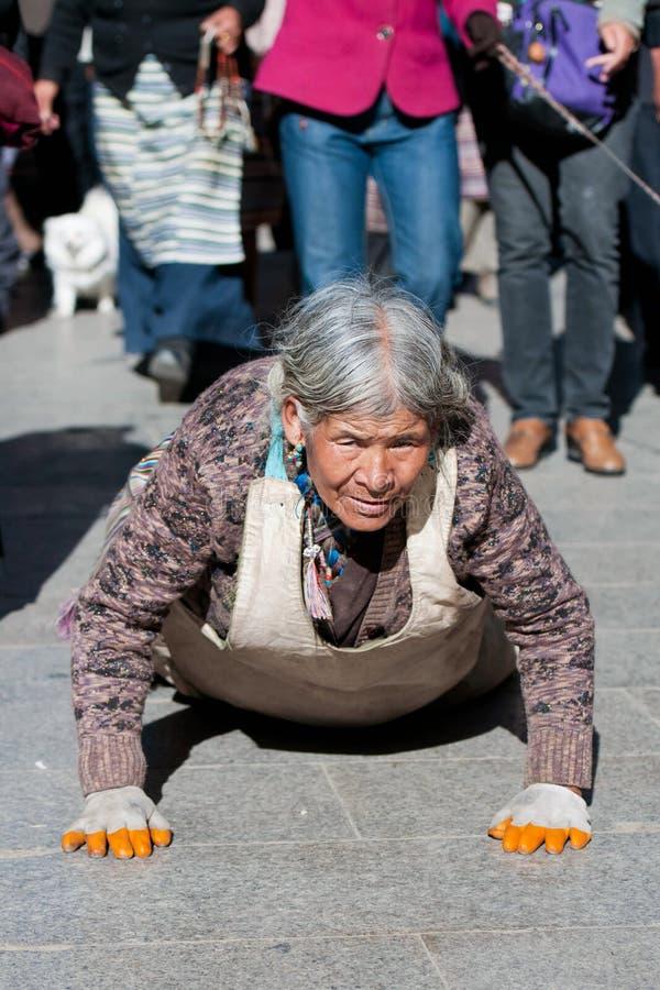 Tibetan pilgrim royalty free stock photos