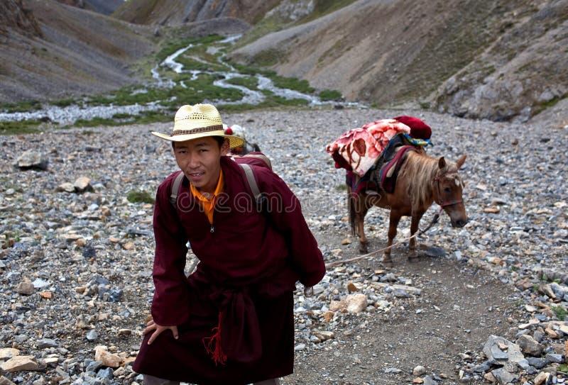 Tibetan pilgrim in Dolpo, Nepal royalty free stock images