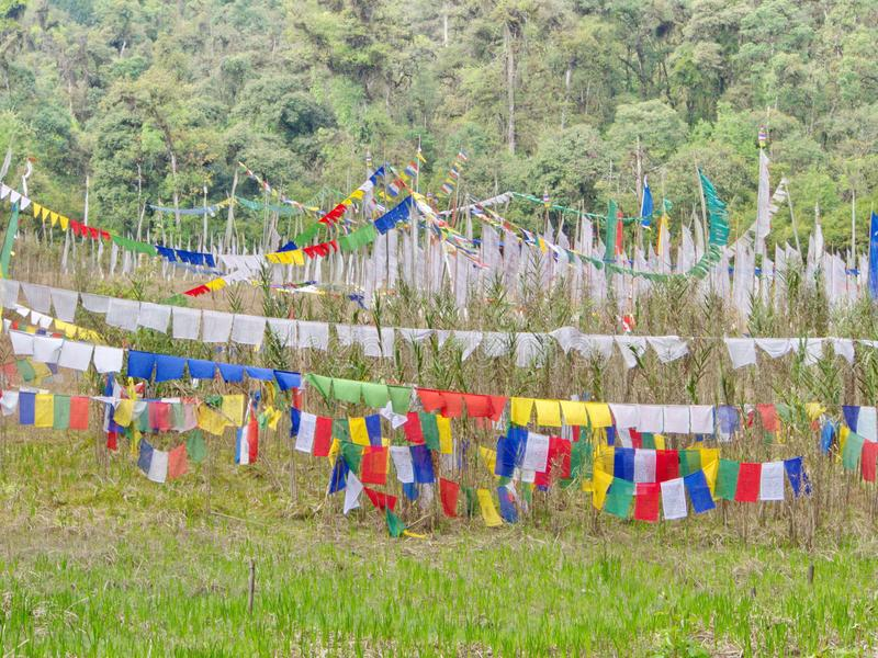 Tibetan Prayer Flag for Faith, peace, wisdom, compassion, and st stock image