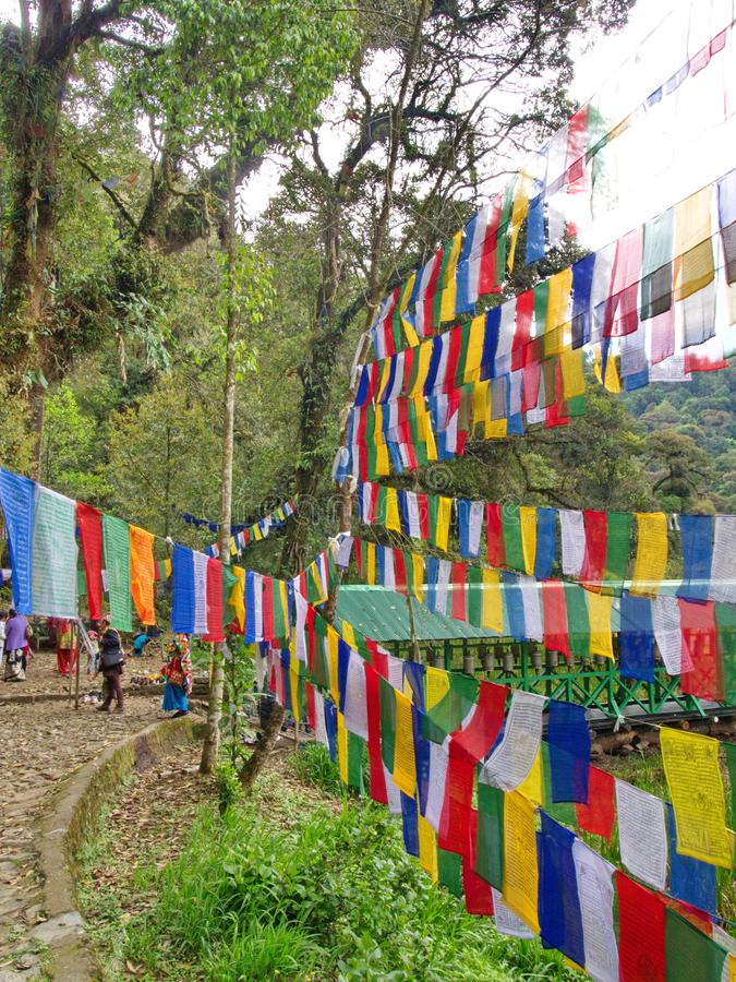 Tibetan Prayer Flag for Faith, peace, wisdom, compassion, and st royalty free stock photography