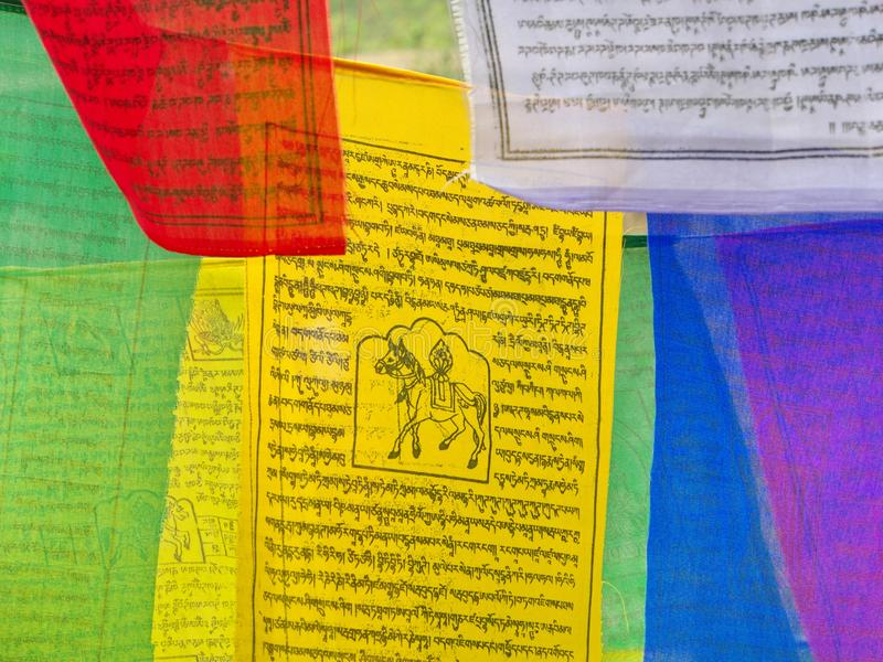 Tibetan Prayer Flag for Faith, peace, wisdom, compassion, and st royalty free stock images