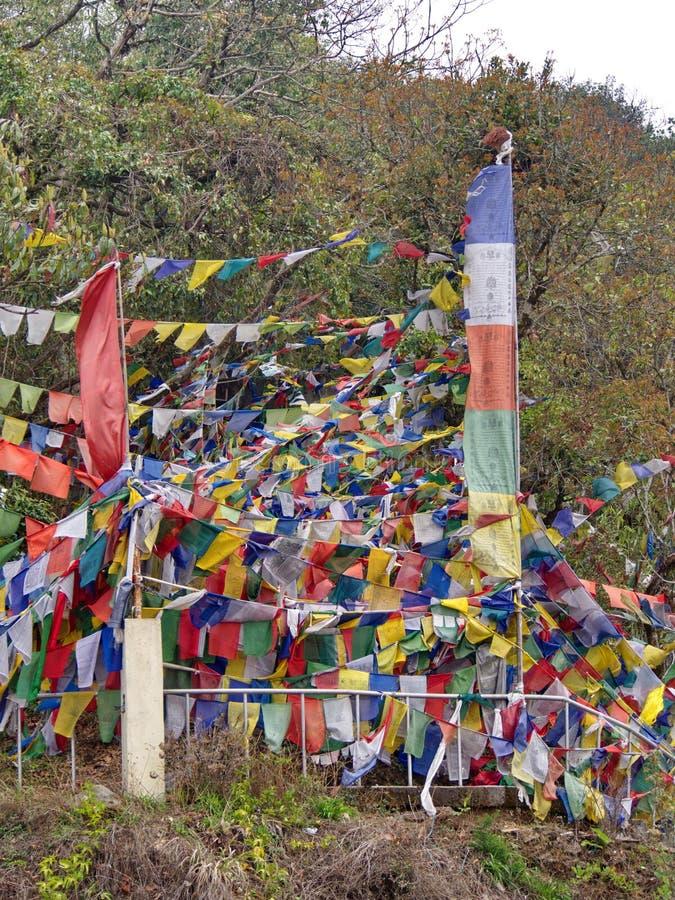 Tibetan Prayer Flag for Faith, peace, wisdom, compassion, and st royalty free stock photo