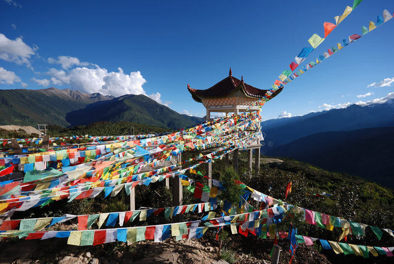 Tibetan Prayer Flags stock photos