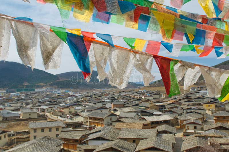 Tibetan prayer flags over shangri-la, china. Tibetan prayer flags over shangri-la, highlands, china stock photography