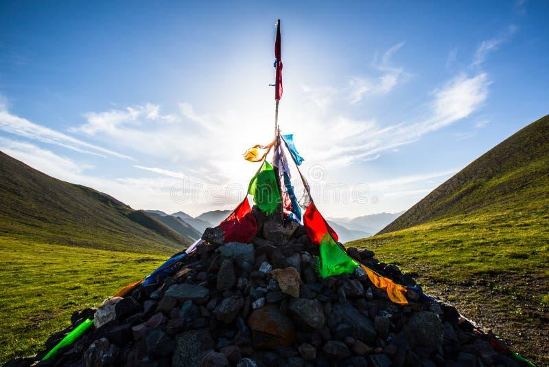 Tibetan Prayer Flags Provide a Landmark for True Believers royalty free stock photo