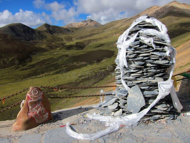 Tibetan prayer scarfs royalty free stock photos
