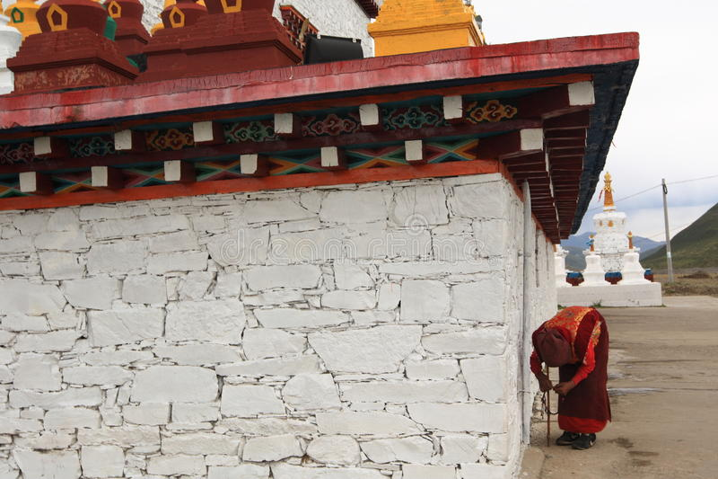 Tibetan Prayer and Tibetan tower royalty free stock photo