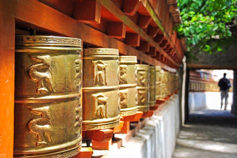 Tibetan prayer wheel stock image