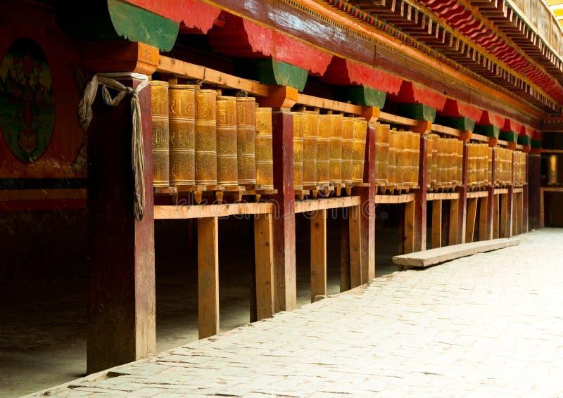 Tibetan prayer wheels in songzanlin monastery royalty free stock photos