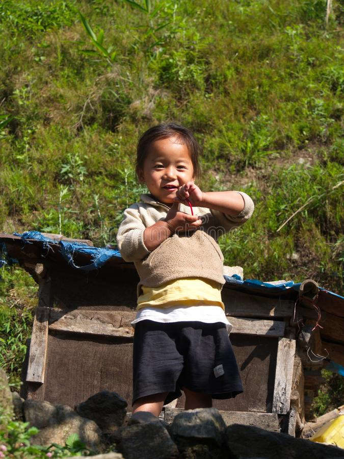 Tibetan Refugee Children from Tibet in Refugee Center. Darjeeling City,Sikkim INDIA , 16th APRIL 2013.  royalty free stock image