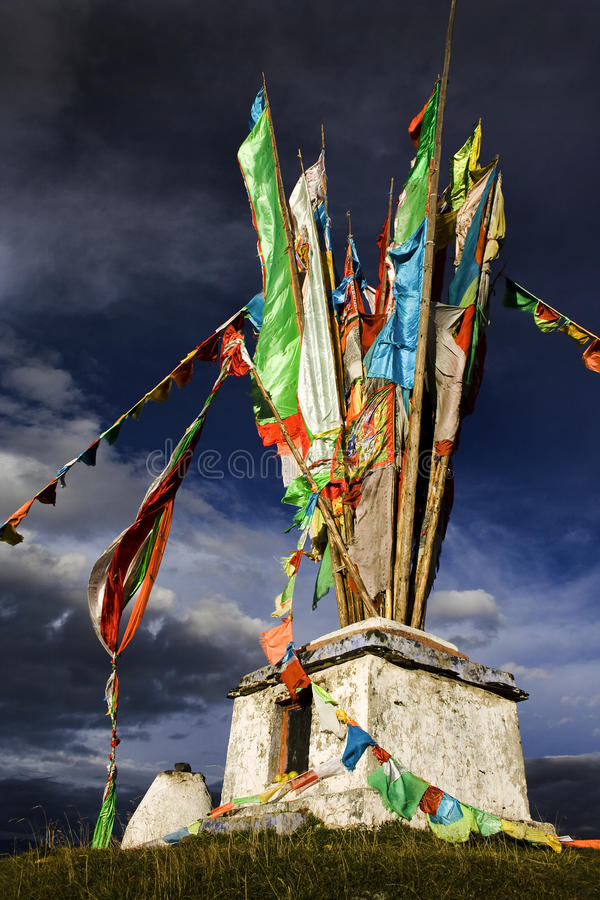 Tibetan religious monument on top of a mountain stock photos