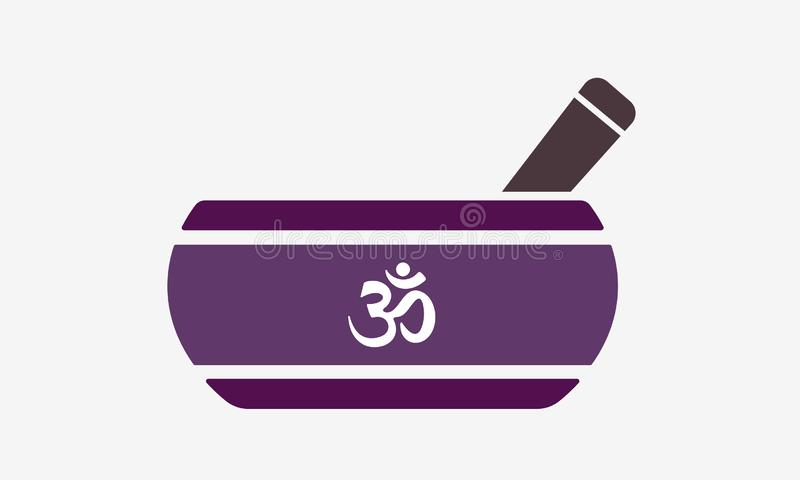 Tibetan singing bowl flat icon with om symbol. Healing music and meditation instrument therapy for relaxation and spirituality. Tibetan singing bowl flat icon stock illustration