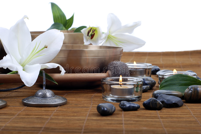 Tibetan singing bowls treatment royalty free stock images