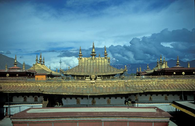 Tibetan Style Temples. On top of the Potala Palace, Lhasa, Tibet stock photography