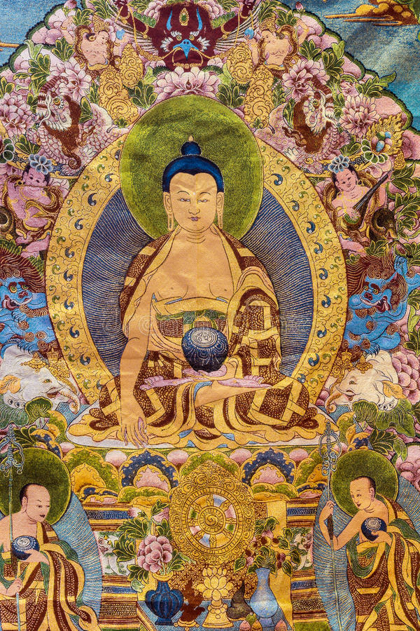 Tibetan thangkas Buddha wall charts royalty free stock photography
