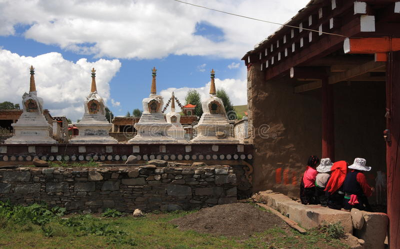 Tibetan towers and Prayer wheel royalty free stock photo