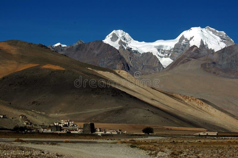 Download The Tibetan Village And Snow Mountains Stock Photo - Image: 5111578