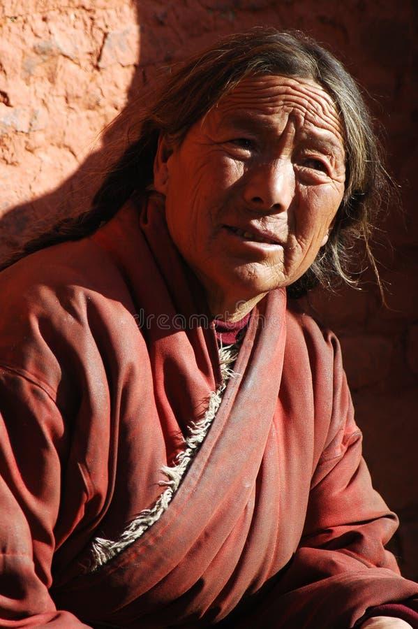 Tibetan vrouw royalty-vrije stock foto's