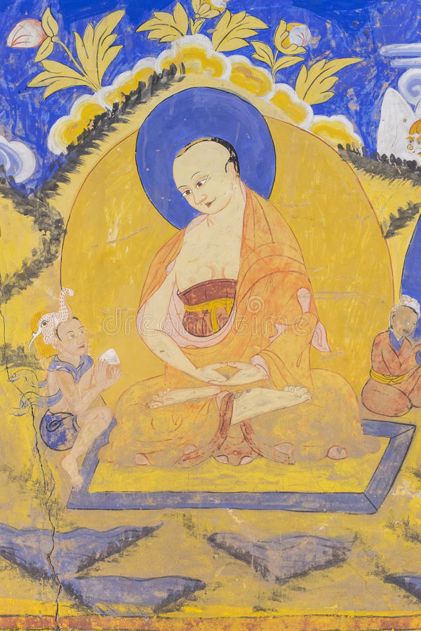 Tibetan Wall Painting Style At Thiksey Monastery Stock Image - Image ...