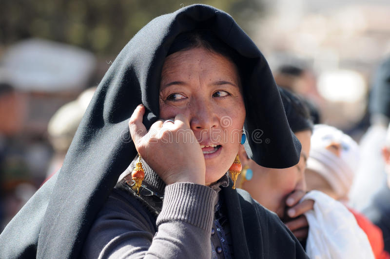 Tibetan woman stock photos