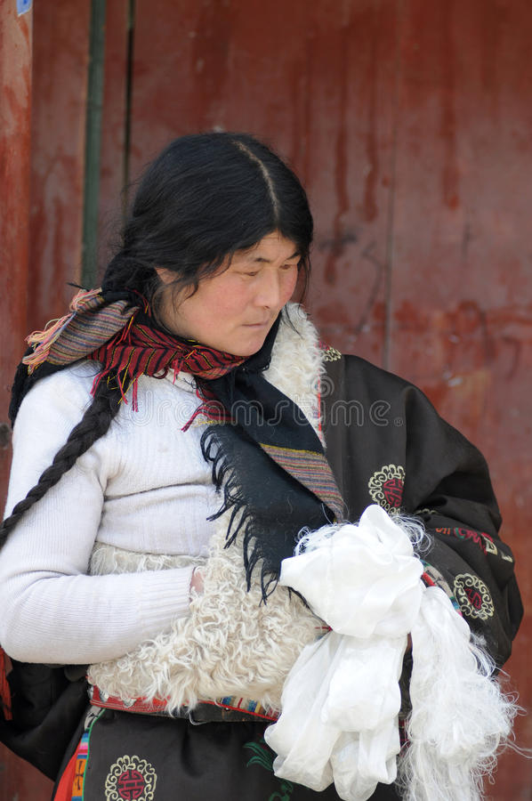 Tibetan woman royalty free stock photography