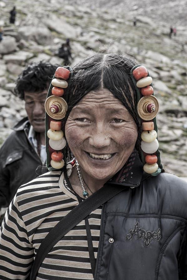 Tibetan woman portrait royalty free stock photography