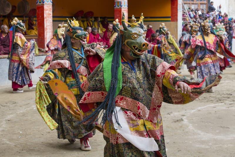Tibetana buddistiska lamor utför en rituell dans i kloster av Lamayuru, Ladakh, Indien royaltyfria bilder