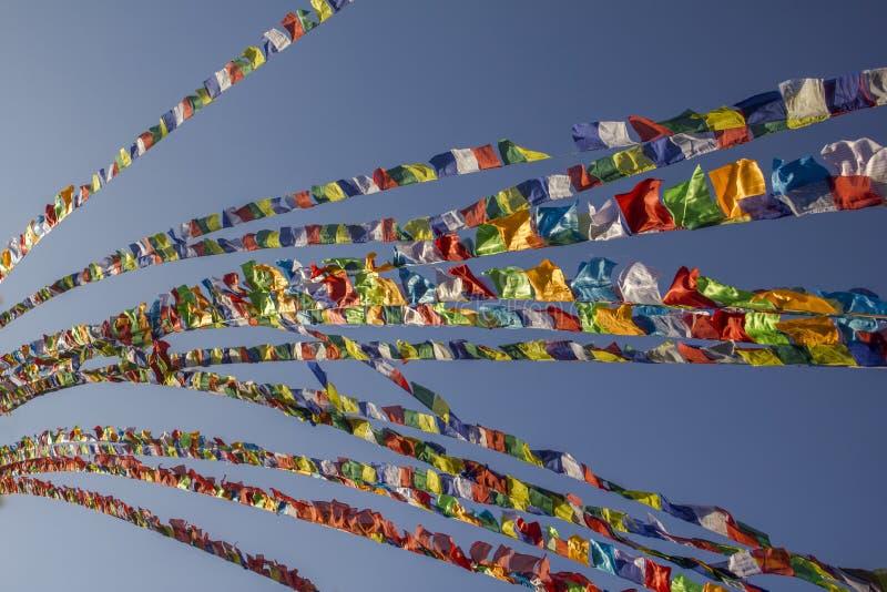 Tibetana buddistiska mångfärgade flaggor för en bön på bakgrunden av en klar blå himmel arkivbild