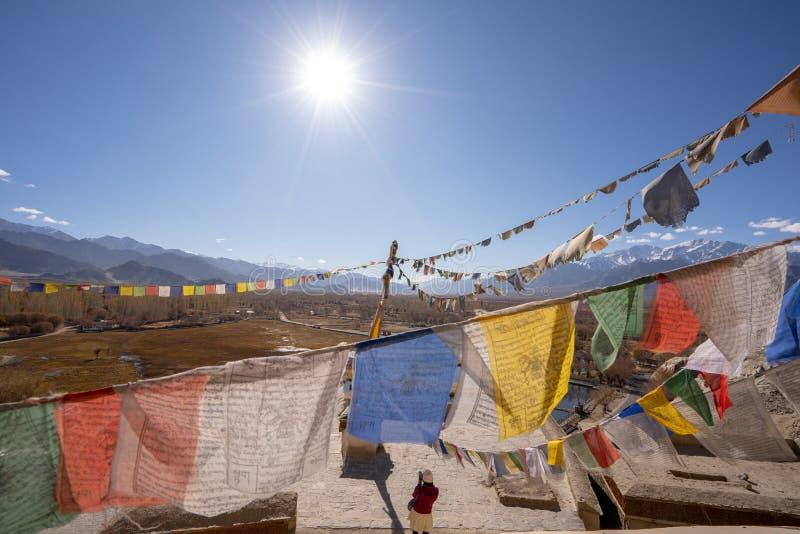 Tibetana flaggor för bön på den Leh slotten med den bästa sikten för Leh stad, Leh Ladakh, Indien royaltyfri bild