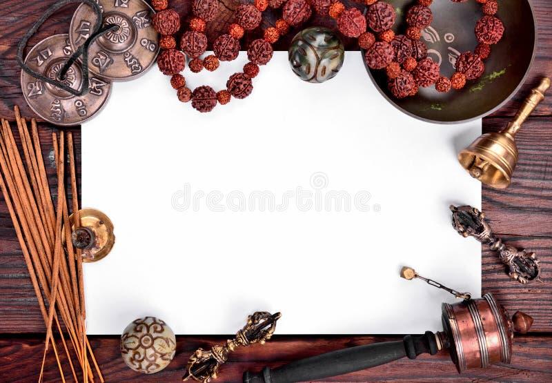 Tibetana musikinstrument för meditation och avkoppling royaltyfri fotografi