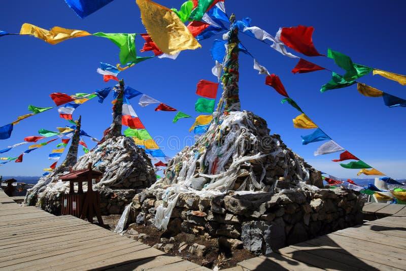 Tibetanische buddhistische Gebetsflaggen auf Berg in Shangri-La, China lizenzfreie stockbilder