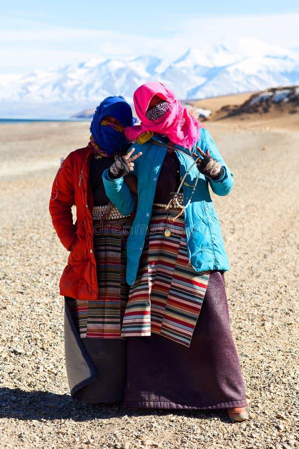 Tibetanische Frauen stockfotos