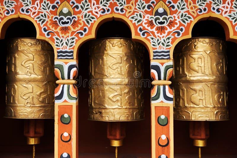 Tibetanische Gebeträder lizenzfreie stockfotos