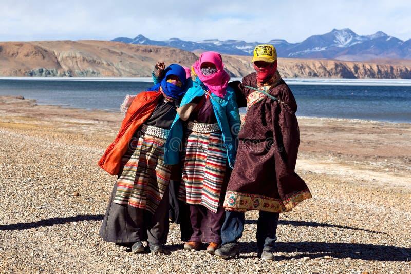 Tibetanische Pilgerer stockbilder