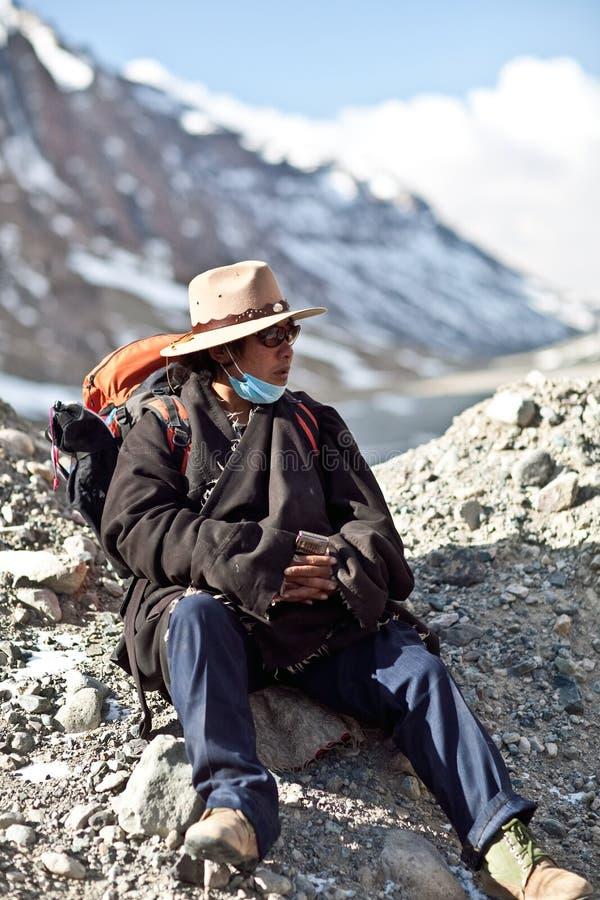 Tibetanischer Pilger stockbild