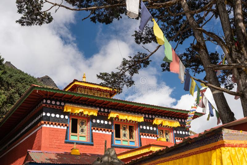 Tibetanisches Artkloster in Khumjungs-Dorf, Everest-Region, Knoten lizenzfreies stockfoto
