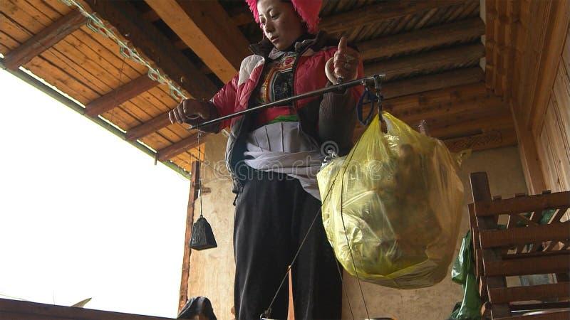 Tibetans zoeken het verkopen matsutake in het Jidi-dorp, zit in het centrum van het gebied van de matsutakeproductie in shangri-L royalty-vrije stock fotografie