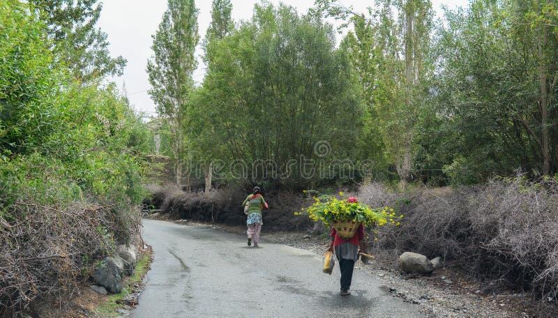 Tibetant folk som går på den lantliga vägen royaltyfri bild