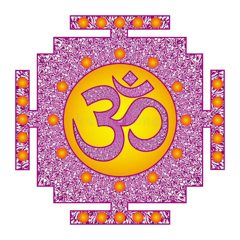 Tibetian openwork mandala, elegant circular ornament with the Om / Aum / Ohm sign in the middle on a red, purple and orange colo. Rs. Spiritual and sacred symbol stock illustration