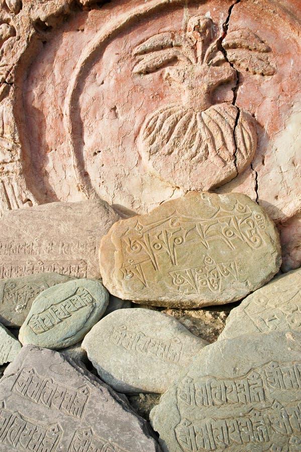 Download Tibetian Rock carvings stock photo. Image of script, stone - 13399468