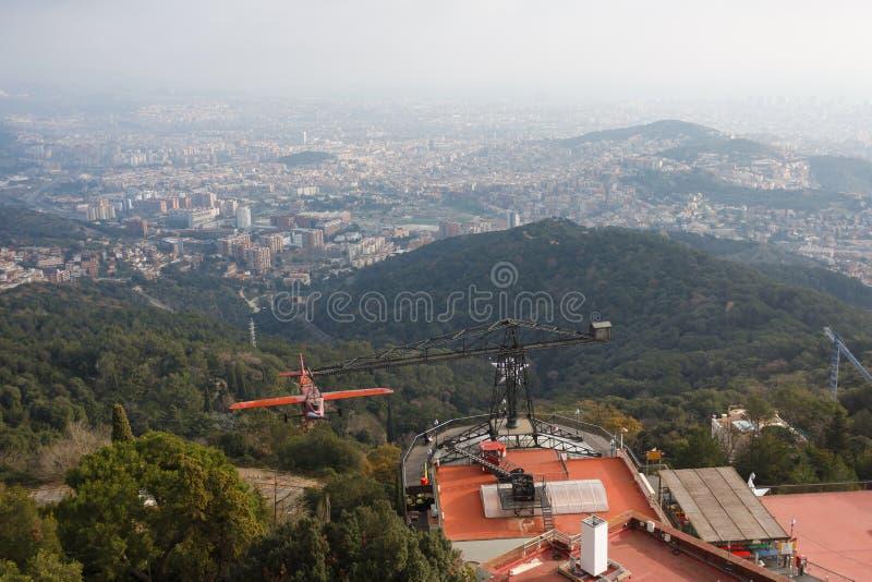 Tibidabo小山的,巴塞罗那游乐园 库存图片