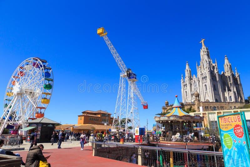 Tibidabo游乐园,巴塞罗那 库存照片