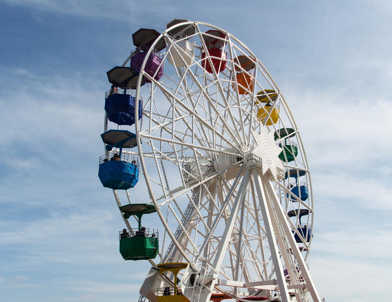 Tibidabo Ferris Wheel. The Tibidabo Ferris Wheel at the amusement park next to the Temple de Sagrat Cor, Barcelona, Spain stock image
