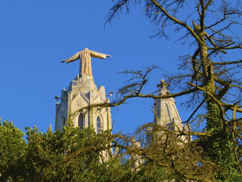 Tibidabo Temple in Barcelona royalty free stock photo